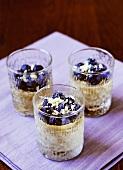 Blueberry desserts in three glasses