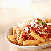 Rigatoni with tomato sauce and Parmigiano