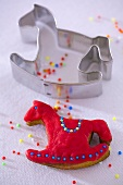 A rocking horse biscuit with cutter