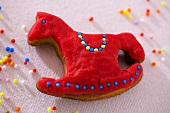 A red rocking horse biscuit