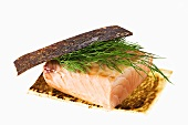 Salmon fillet with dill (grilled on the skin)