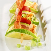 Prawn, lime and tomato skewer