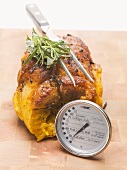 Stuffed breast of veal with meat thermometer