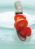Sliced, red baby tomato, Thailand