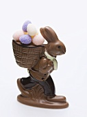 Chocolate Easter Bunny with sugar eggs