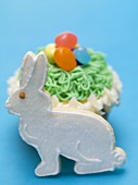 Cupcake with jelly beans and Easter Bunny