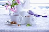 A cup of tea with amaretti