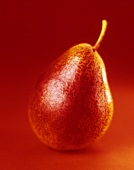 A pear against a red background