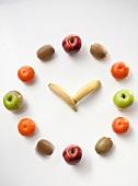A clock made of various fruits