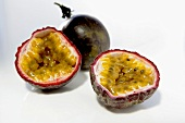 Halved passion fruits