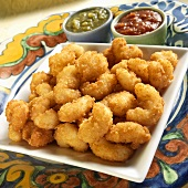 Fried Breaded Shrimp with Chili Sauce and Tomatillo Salsa