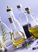 An arrangement of oil and vinegar bottles