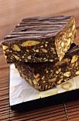 Chocolate nut slices