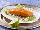 Smoked salmon with a salad garnish