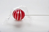 Red lollipop, unwrapped