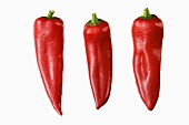 Three red pointed peppers