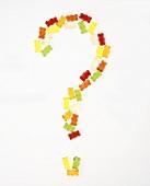 Fragezeichen aus Gummibärchen