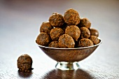 Chocolate truffles in silver bowl
