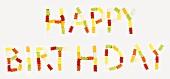 'Happy Birthday' written in Gummi bears