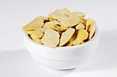 Broad beans in ceramic bowl