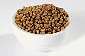 Brown beans (moth beans) in ceramic bowl