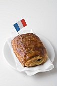 Pain au chocolat with French flag