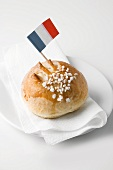 Milk roll with sugar and French flag