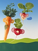 Amusing carrot and radish figures
