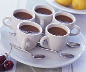 Mousse au chocolat in coffee cups