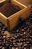 Coffee beans and freshly ground coffee