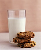 Chocolate chip oat biscuits and a glass of milk