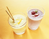 Mango yoghurt drink with mineral water & strawberry buttermilk