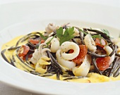 Black spaghetti with calamari