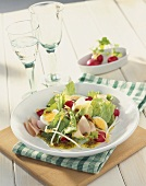 Plate of salad: iceberg lettuce, egg, radishes and ham