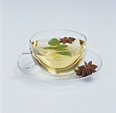 A cup of herbal tea with star anise