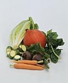 Vegetable still life against white background
