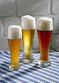 Wheat beer in glasses: Hefeweizen (unfiltered), Kristall (filtered) & dark