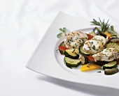Monkfish on mixed vegetables