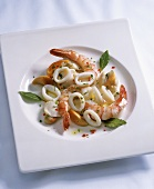 Seafood salad of squid, scallops and prawns