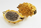 Horned melon (kiwano), whole and a half