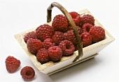 Raspberries in a wooden basket