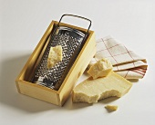 Parmesan cheese with grater