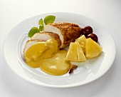 Roasted chicken breast with curry sauce and pineapple
