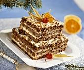 Chocolate almond cake with vanilla cream filling