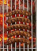 Five sausages on barbecue rack over burning charcoal