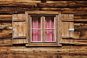 Window in a wooden hut