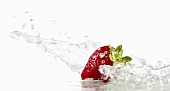 Strawberry with splashing water