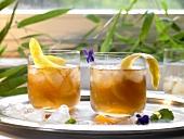 Iced tea with lemon peel