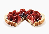 Berry Tart with Slice Removed; White Background