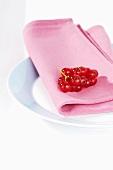 Redcurrants on fabric napkin